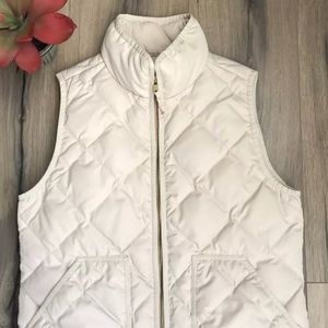 J Crew Factory Cream Puffer Vest Size Small